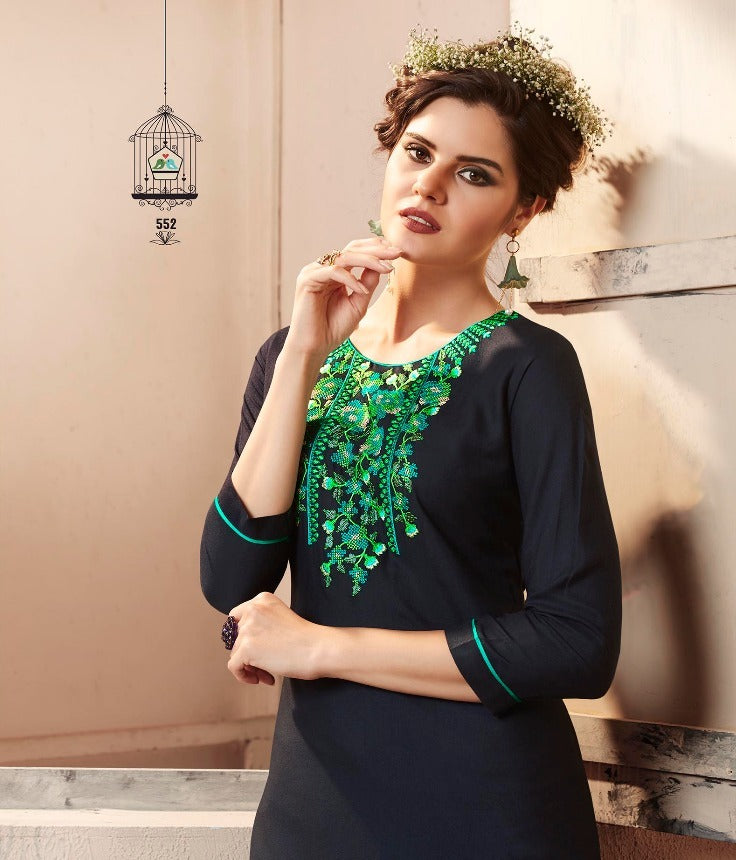 Cute Lily !!! Green embroidered in Black  Color  Rayon  Kurti