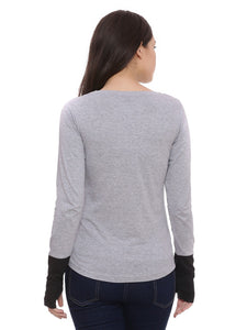 Women Gray Solid Round Neck T-shirt
