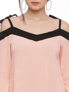 Women Peach-Coloured Solid Bardot Top