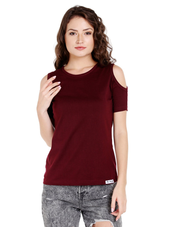 Women Burgundy Solid Top