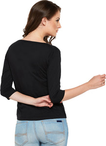 Women Black Solid Henley Neck T-shirt