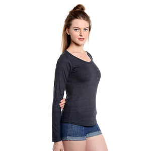 Women Charcoal Solid Round Neck T-Shirt