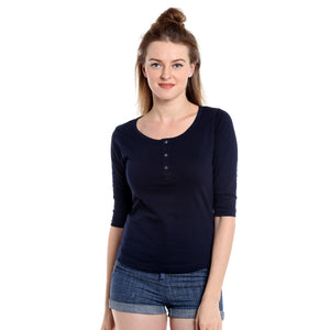 Women Navy Blue Solid Henley Neck T-Shirt
