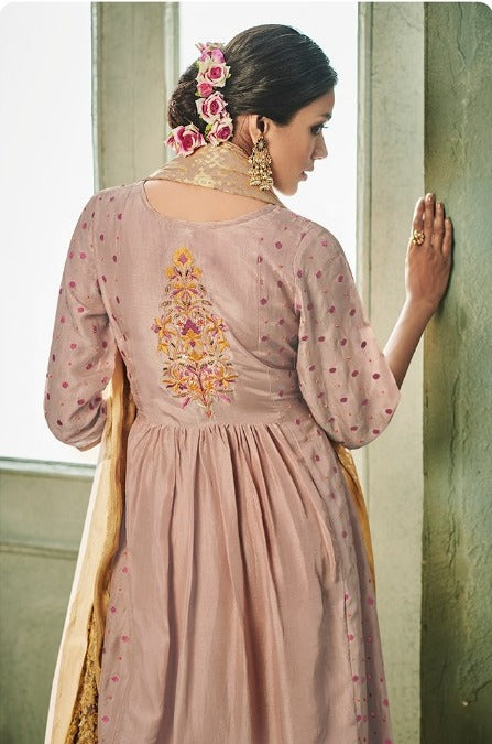 Weathered Espresso Brown With Golden Embroidered Dupatta