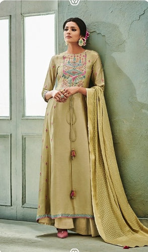 Awesome Suit !!! flaxen with gold embroidered  Dupatta
