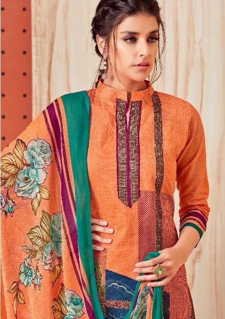 Premium Monsoon !!! Multi print on light  orange