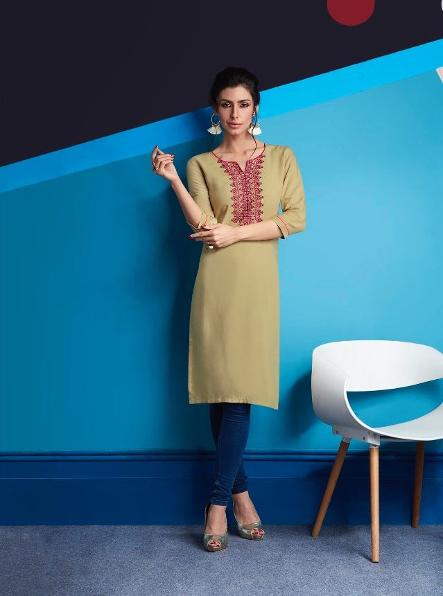 Cute Lily !!! Dark cream Color  embroidered  Rayon  Kurti