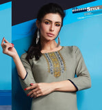 Cute Lily !!! Fossil grey Color  embroidered  Rayon  Kurti