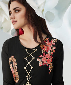 Fabulous Zara !!! Black  embroidered  Designer Gown Style  Kurti