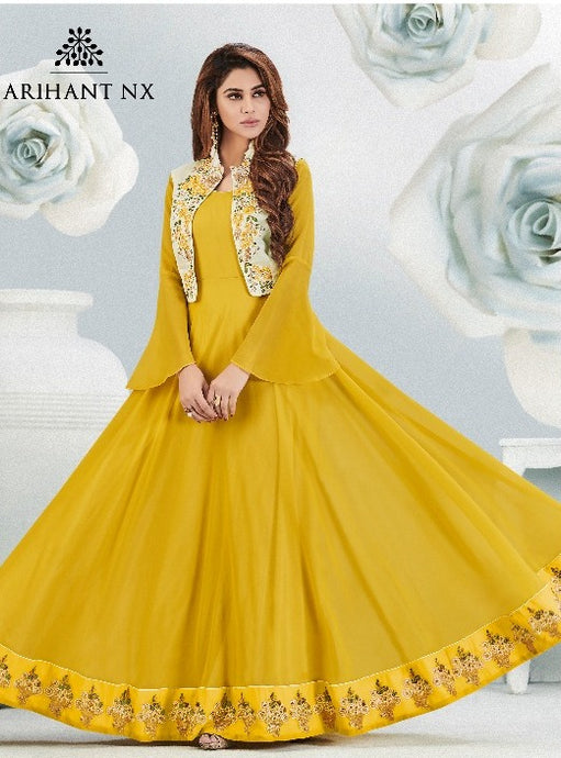 Fabulous Zara !!! Mustered with embroidered jacket Designer Gown Style  Kurti