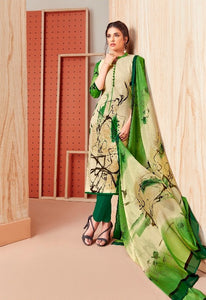 Premium Monsoon !!! Green print on cream