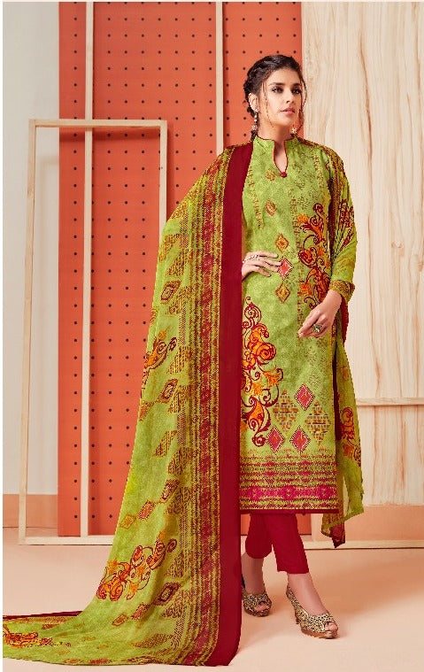 Premium Monsoon !!! Maroon print on parrot green