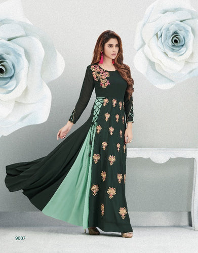 Fabulous Zara !!! Dark green and cream Embroidery  Designer Gown Style  Kurti