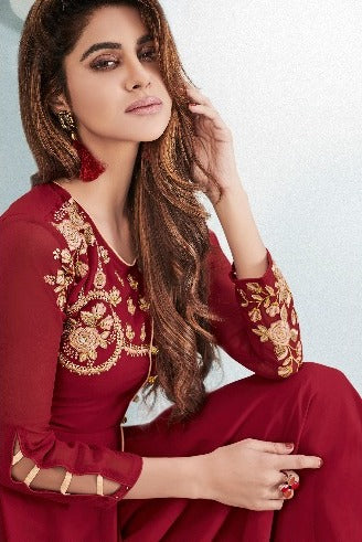 Fabulous Zara !!! Golden embroidery on Crimson Red Designer Gown Style  Kurti