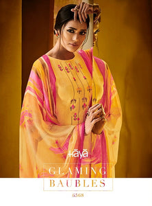 Gorgeous Haya !!! Yellow with printed Dupatta