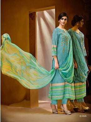 Gorgeous Haya !!! Sky blue with green print Dupatta