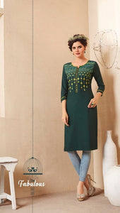 Cute Lily !!! Dark Green Color  embroidered   Rayon  Kurti