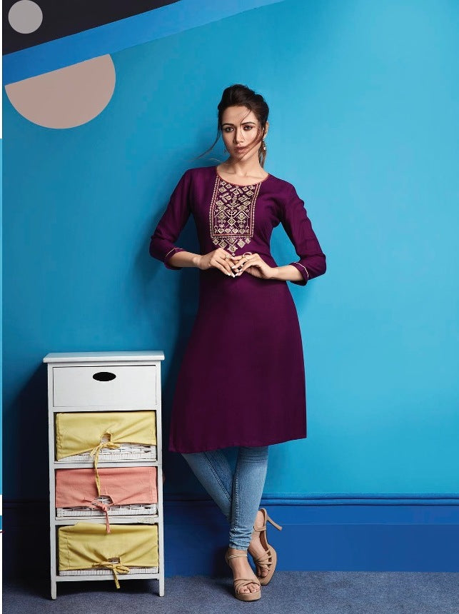 Cute Lily !!! Boysenberry magenta  embroidered  Rayon  Kurti