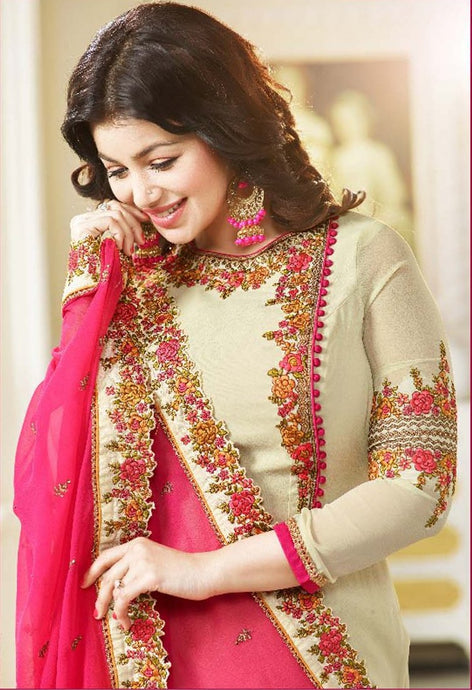 Luxurious Cream Color Georgette Embroidery Suit With Heavy Work Dupatta