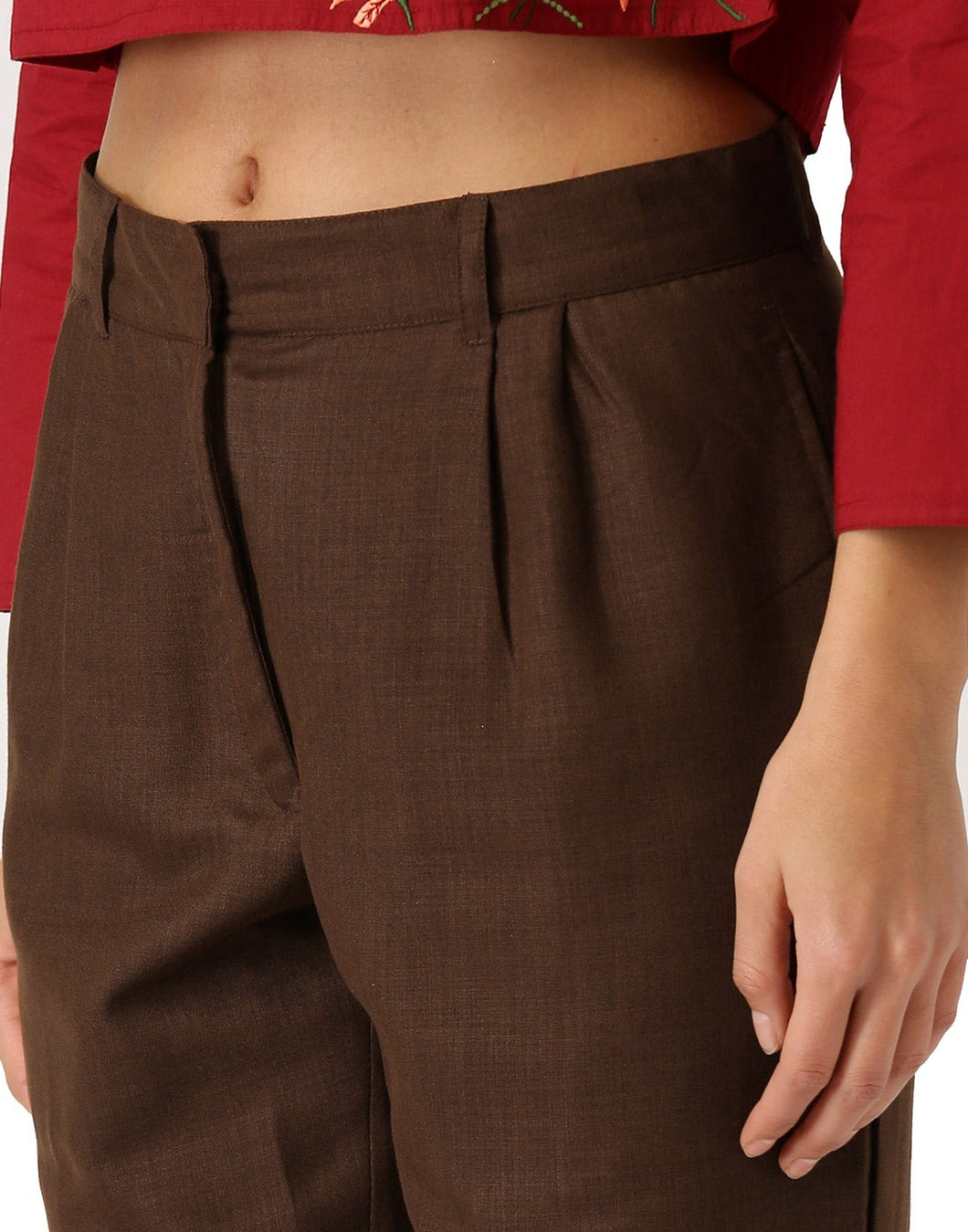 Women Brown Solid Straight Fit Tussar Silk Trouser