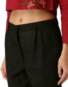 Women Black Solid Straight Fit Tussar Silk Trouser