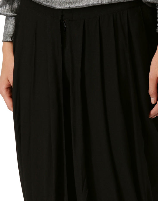 Women Black Solid Rayon Tulip Dhoti