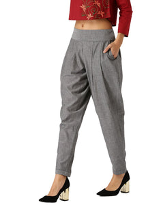 Women Grey Self Print Handloom Baloon Pants