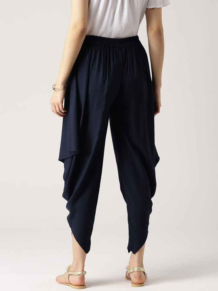 Women Navy Blue Solid Rayon Cowl Pants