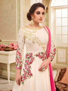 Charming Kaia !!! Off White  Color Georgette Embroidery party wear long Suit