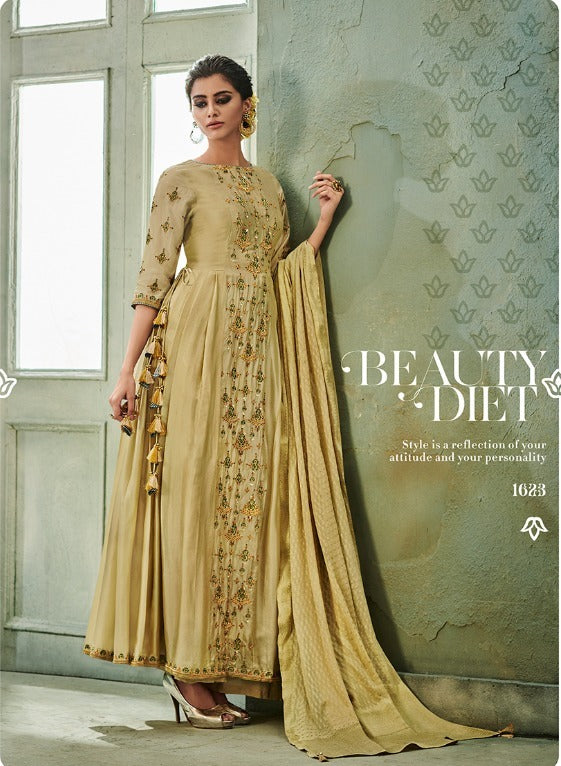 Awesome Suit !!! sandcastle with embroidered  Dupatta