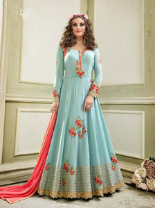 Wonderful Kyra !!! Torques   Color Georgette Embroidery party wear long Suit