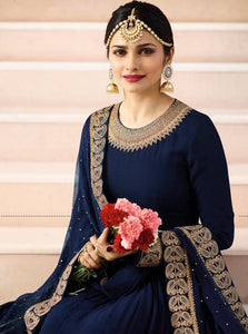 Lovely Midnight Blue Color Designer Gown