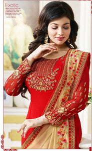 Luxurious Red  Color Georgette Embroidery Suit With Heavy Work Dupatta
