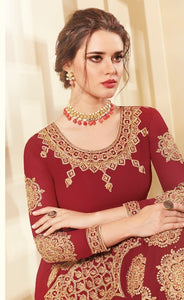 Great AADHVINNA !!! Intricate Maroon Heavy work Designer Embroidered  Georgette Anarkali Suit