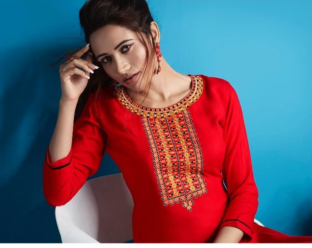 Cute Lily !!! Blood red Color  embroidered  Rayon  Kurti
