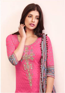 Beautiful Shahnaz !!! Dark Pink With Gray color Cambric cotton print & Embroidery Suit