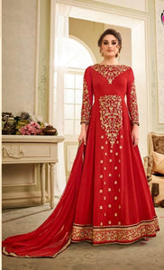 Charming Kaia !!! Dark Red  Color Georgette Embroidery party wear long Suit