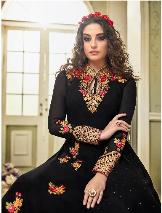 Wonderful Kyra !!! Black  Color Georgette Embroidery party wear long Suit