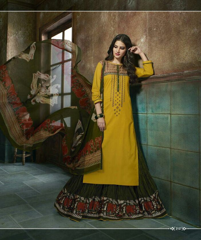 Lovely Belleza !!! Mustered   WITH Mehendi Color  COTTON PRINTED LEHENGA STYLE KURTI