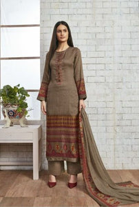 Sweet Gulzaar !!! Light brown cotton satin Print with embroidery  suits