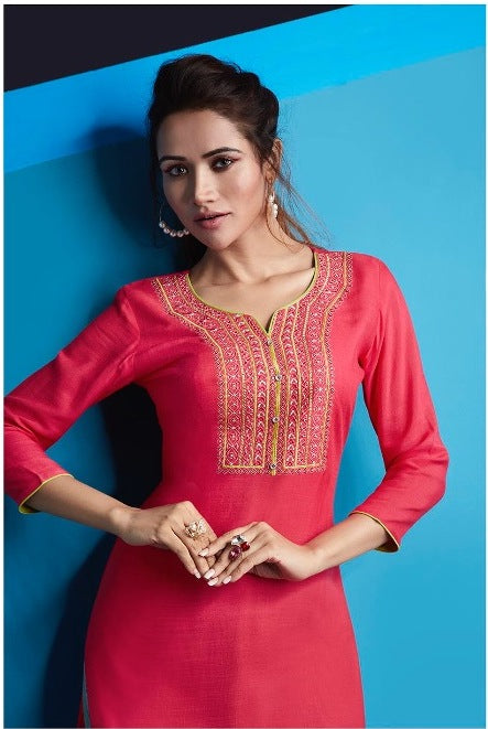 Cute Lily !!! Dark pink Color  embroidered  Rayon  Kurti