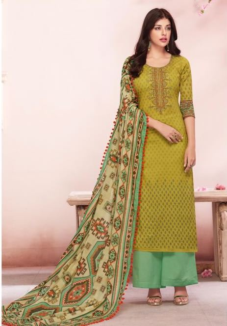 Beautiful Shahnaz !!! Yellow Green And Sea-foam Green color Cambric cotton print & Embroidery Suit
