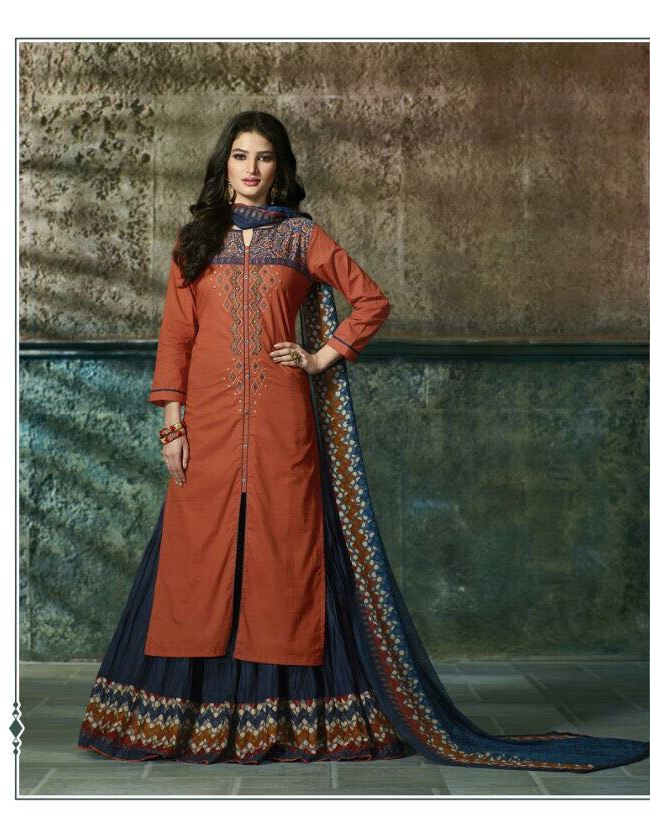 BROWN WITH DEEP BLUE COTTON PRINTED LEHENGA STYLE KURTI