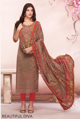 Beautiful Shahnaz !!! Caramel Brown With Pastel Orange color Cambric cotton print & Embroidery Suit