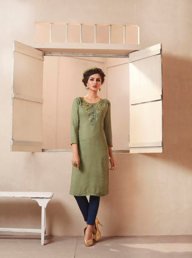 Cute Lily !!! Mehendi Color  embroidered   Rayon  Kurti