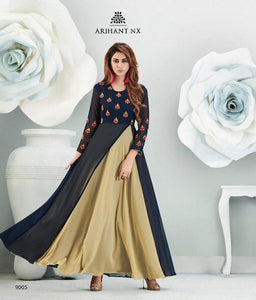 Fabulous Zara !!! Navy blue and cream combination Designer Gown Style  Kurti