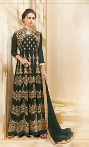 Great AADHVINNA !!! Green Heavy work Designer Embroidered  Georgette Anarkali Suit
