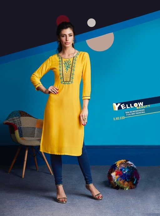 Cute Lily !!! Yellow Color  embroidered  Rayon  Kurti