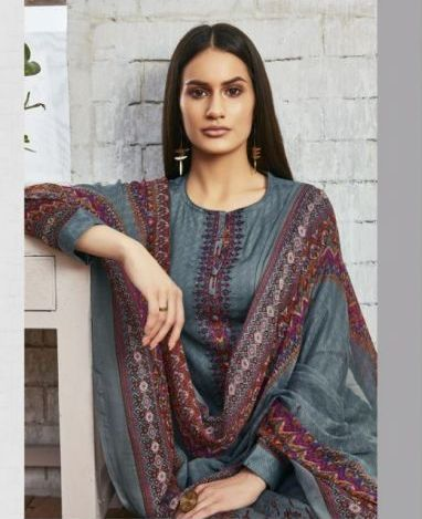Sweet Gulzaar !!! Stone grey cotton satin Print with embroidery  suits