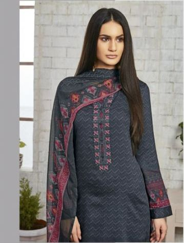 Sweet Gulzaar !!! Dark grey cotton satin Print with embroidery  suits